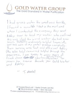 Gold Water Group 100% satisfied customer testimonial