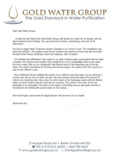 Gold Water Group customer testimonial