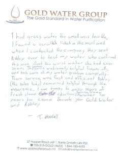 Gold Water Group 100% satisfied customer testimonial