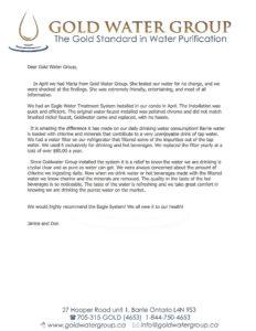 Gold Water Group customer testimonial